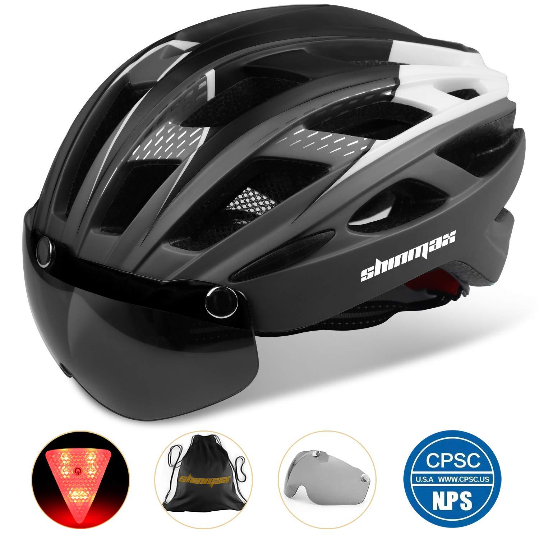 Basecamp Bike Helmet, Bicycle Helmet CPSC Certified Cycling Climbing Helmet BC-069 with Detachable Magnetic Goggles Visor LED Back Light Portable Backpack Adjustable for Men Women Mountain