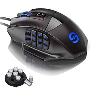3359cfc7c3a UtechSmart Venus 50 to 16400 DPI High Precision Laser MMO Gaming Mouse for  PC, 18 Programmable Buttons ...