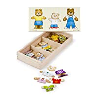 Deals on Melissa & Doug Mix 'n 45pc Match Wooden Bear Dress-Up Puzzle