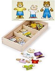 Melissa & Doug Bear Family Dress-Up Puzzle (Preschool, Mix-and-Match Outfits, Durable Wooden Construction, Sturdy Storage Box, 31.75 cm H x 15.748 cm W x 5.08 cm L)