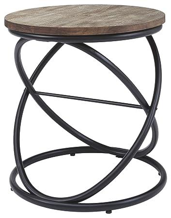 Ashley Furniture Signature Design - Charliburi Contemporary Round End Table  - Brown/Black