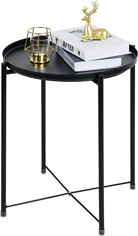 tray metal round side end table black folding side table for outdoor or indoor use anti rust and waterproof nightstand sofa tables patio side