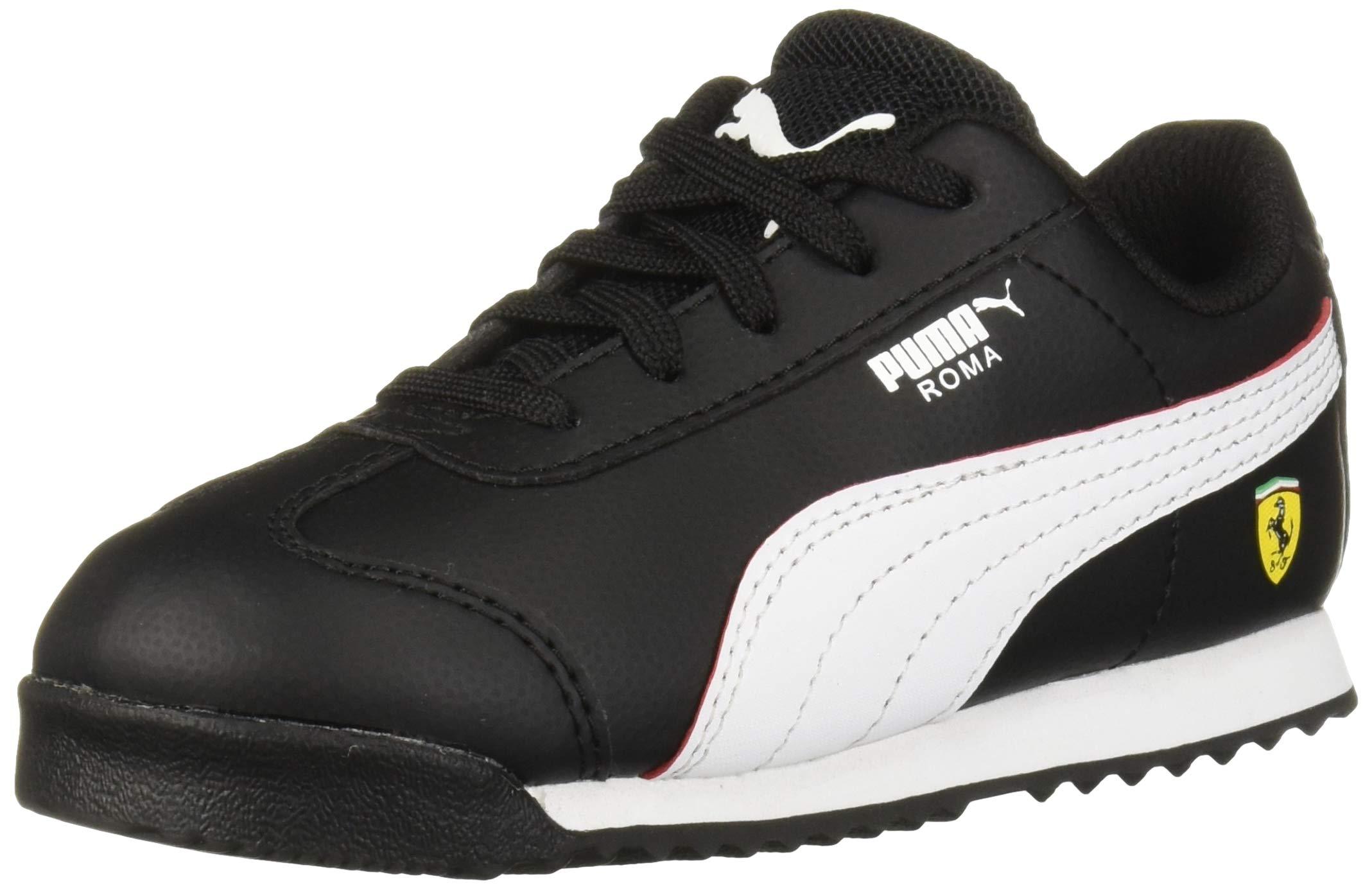 PUMA Unisex Ferrari Roma Sneaker, Black White-Rosso Corsa, 5 M US Big Kid