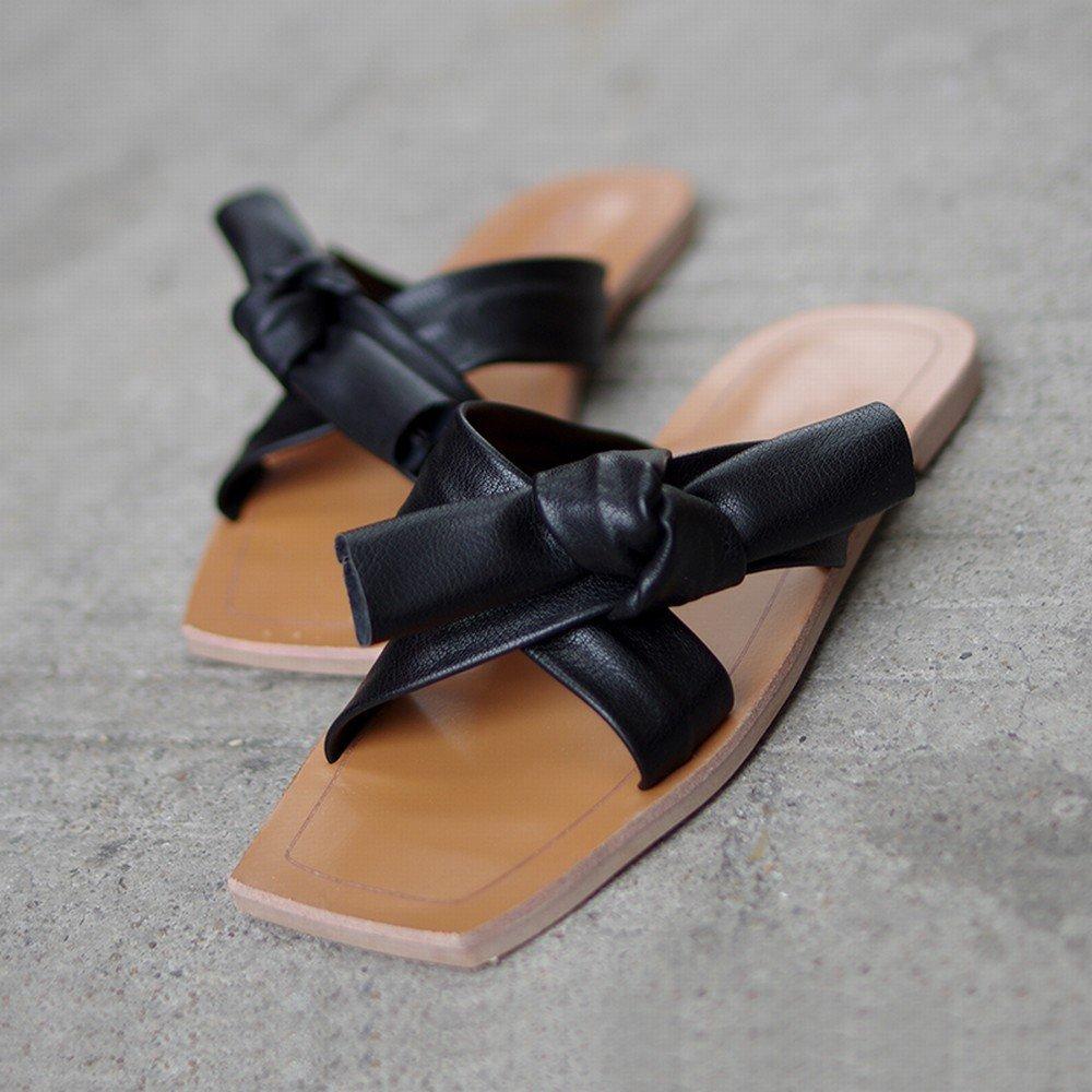 DIDIDD Sommer Flache Schuhe der Sandelholze Beschuht Bogenfreizeit Faule Weiche Strandschuhe Tragenpantoffel Schwarz 36
