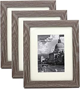 Wide Big Frame Molding Barn wood Rustic Photo Frame for 8x10inch picture, with mat for 5x7inch photo, Set of 3 Pieces, Clear Real Glass, Frame Material MDF Wood, Desk Display &Wall Hang Vertical and H
