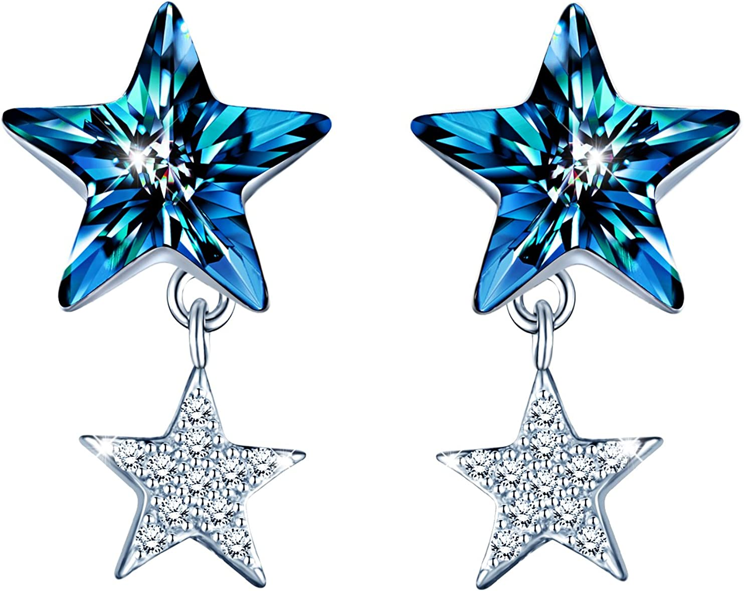 Inifinite U Blue Crystal Star Earrings Sterling Silver Star Stud Earring with Simulated Pearl