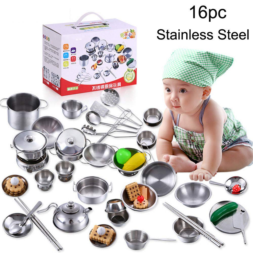 Elaco 16 Pcs Set Kids Play House Kitchen Toys Cookware Cooking Utensils Pots Pans Gift (Stainless Steel)