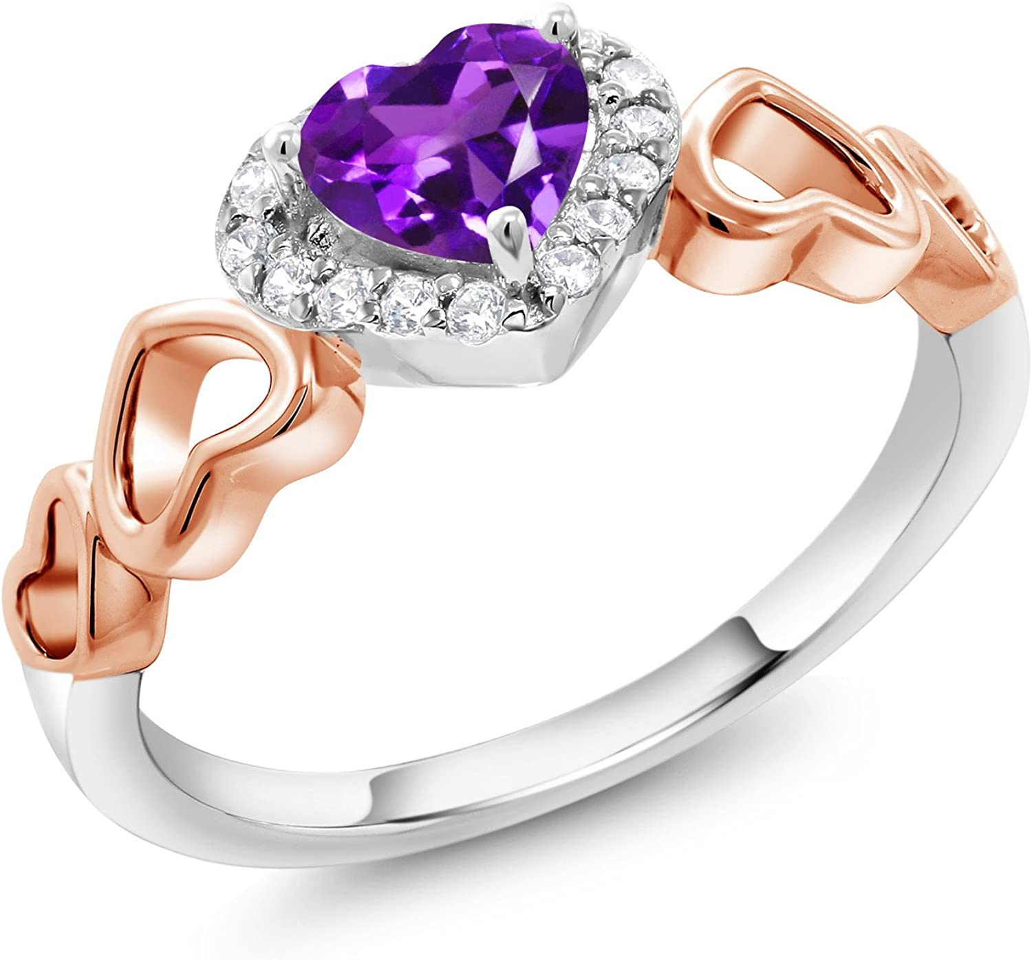 PRECIOUS 1.5 CT HEART AMETHYST PURPLE 925 STERLING SILVER RING SIZE 5-10
