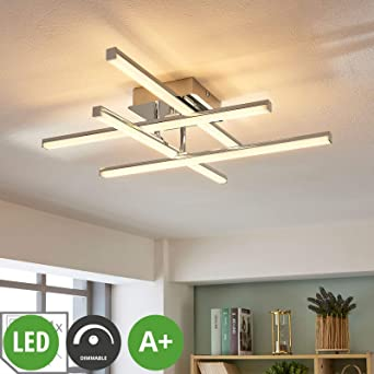 LED Design Decken ALU Leuchte Wohnzimmer Chrom Aluminium Lampe Büro Flur Küchen