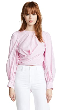 8a437d8b8950 WAYF Women's Dayna Tie Back Wrap Blouse, Pink Stripe, Large at Amazon Women's  Clothing store: