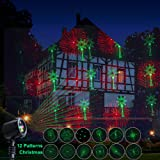 Dalanpa Outdoor Christmas Projector Garden Lights Star Light Color Red and Green