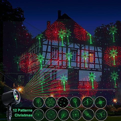 Poeland Outdoor Star Projector Lighting 12 Patterns Christmas Garden Lights