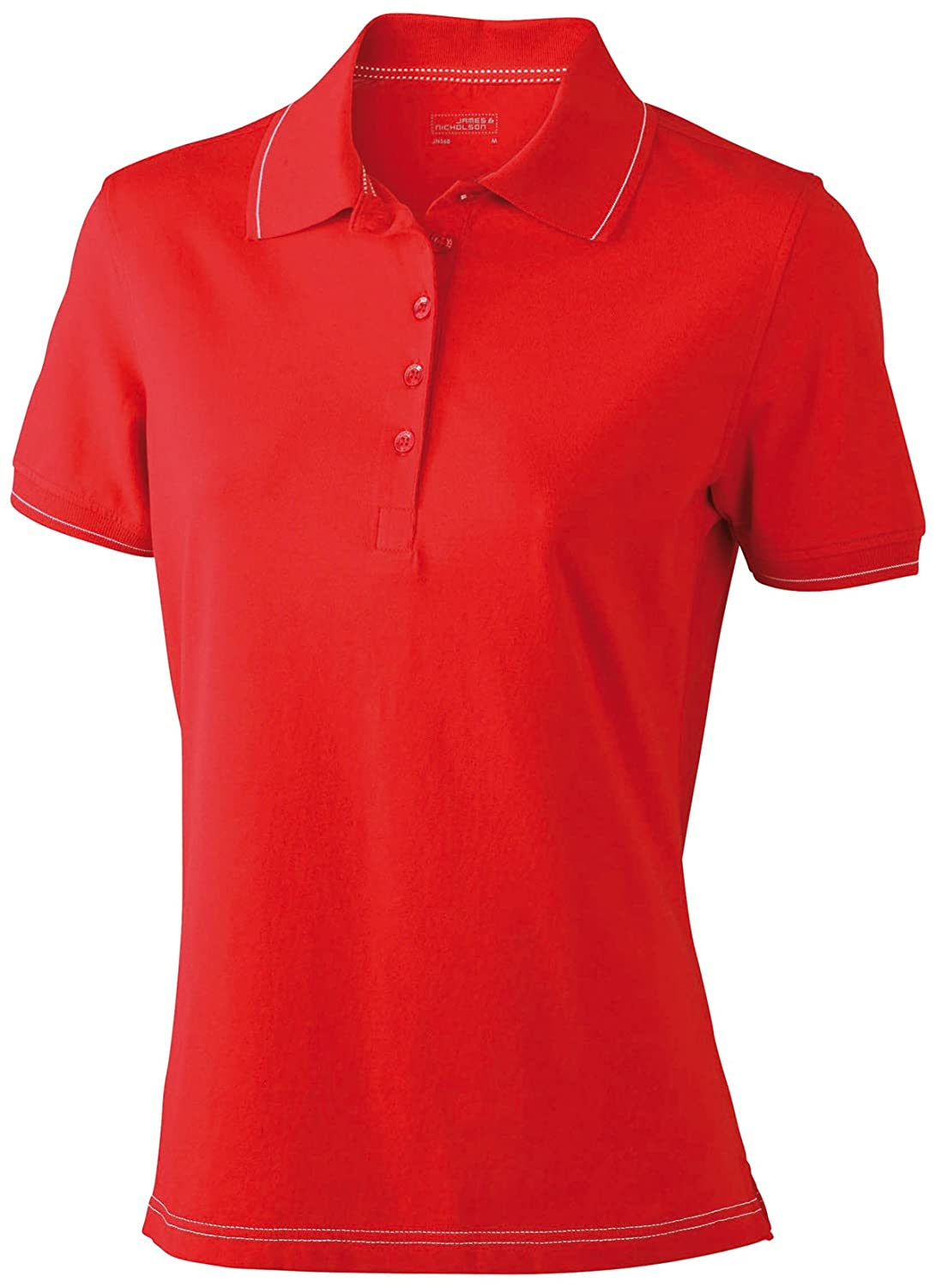 James & Nicholson Funktionspolo Elastic - Polo Mujer, Rojo (red/white), Large (Talla del fabricante: Large) JN568