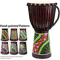 African Drum, Hand-Painted Bongo Congo Djembe Drum 9.5'' x 20'' Mahogany Goatskin Drumhead for Children Starter Beginners
