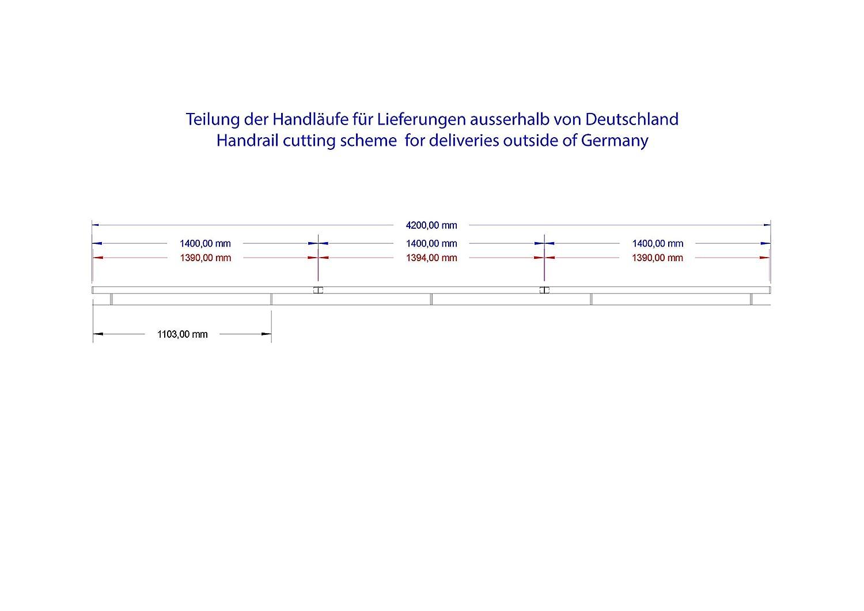 42,4/mm Polie 3700 mm Acier inoxydable Main courante murale V2A avec embout l/ég/èrement incurv/é 240K