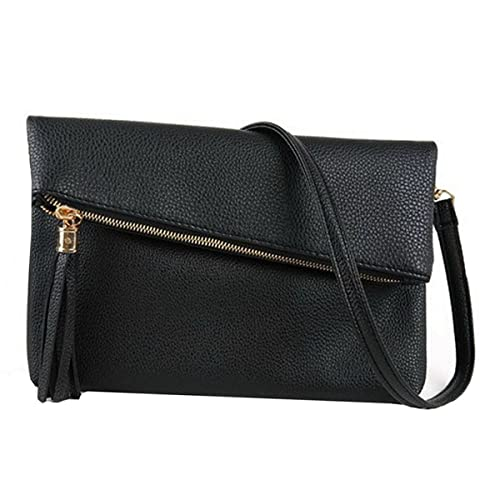 95327bb42f ZLMBAGUS Women Fashion Tassel Fold Over Envelope Evening Clutch PU Zipper  Wristlet Handbag Chain Shoulder Crossbody