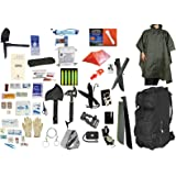 4 Person Supply 5 Day Emergency Bug Out S.O.S. Food Rations, Drinking Water, LifeStraw Personal Water Filter, First Aid Kit, Tent, Blanket, Backpack, OD Poncho + Essential 21 Piece Survival Gear Set