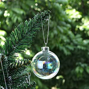 Conniecony 5 pcs Round Rainbow Clear Glass Fillable Ornaments Ball Christmas Ornaments Holiday Wedding Party Decorations DIY Ornaments (100mm)
