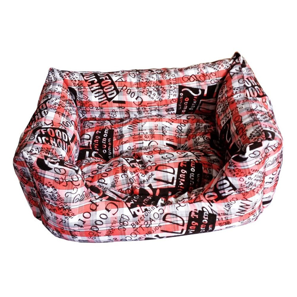 Red Medium Red Medium Washable Puppy pet Bed Winter Warm Doghouse Soft Cat Litter Cotton Print Square Pet Litter (color   Red, Size   M)