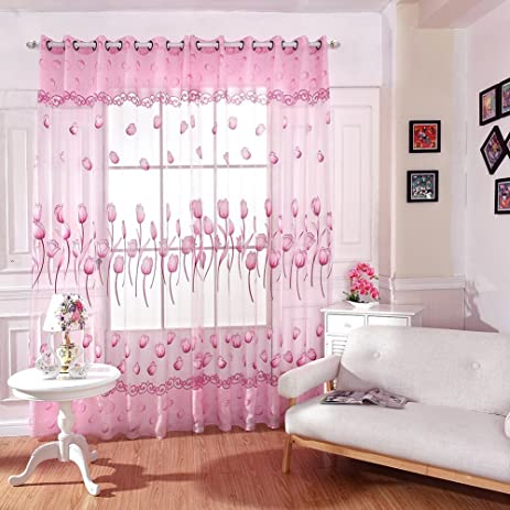 Amazon.com: Edal Tulips Floral Tulip Drapes Scarf Valance Sheers ...