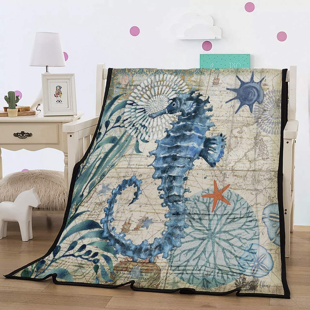 PATATINO MIO Seahorse Throw Blanket 3D Big Seahorse Little Starfish Coral Printed Soft and Cozy Feeling Flannel Blanket for Kids,Boys,Girls and Adults (Throw 60''x80'') by PATATINO MIO