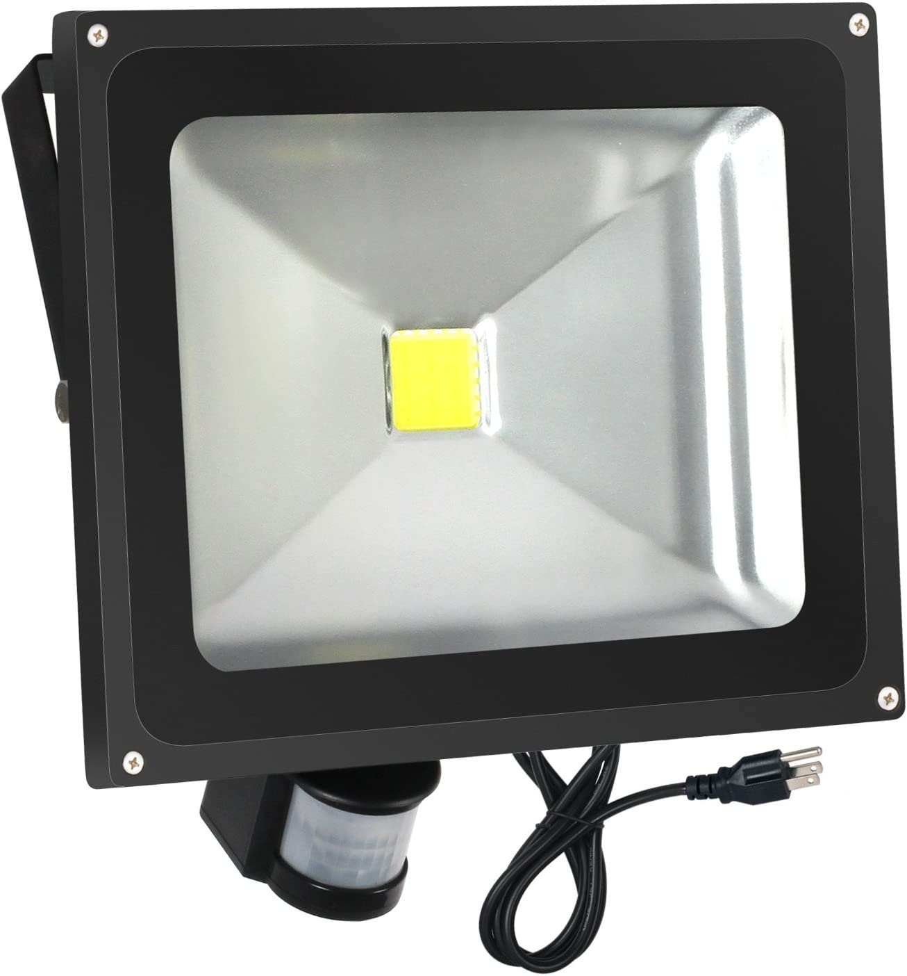 FAISHILAN Motion Sensor Flood Light 50W LED IP65 Waterproof Security Lights 6000K, 4000 Lumen, US 3-Plug Outdoor Wall Light
