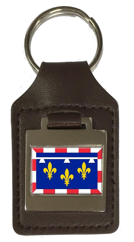 Leather Keyring Engraved Centre Val De Loire Province France Flag