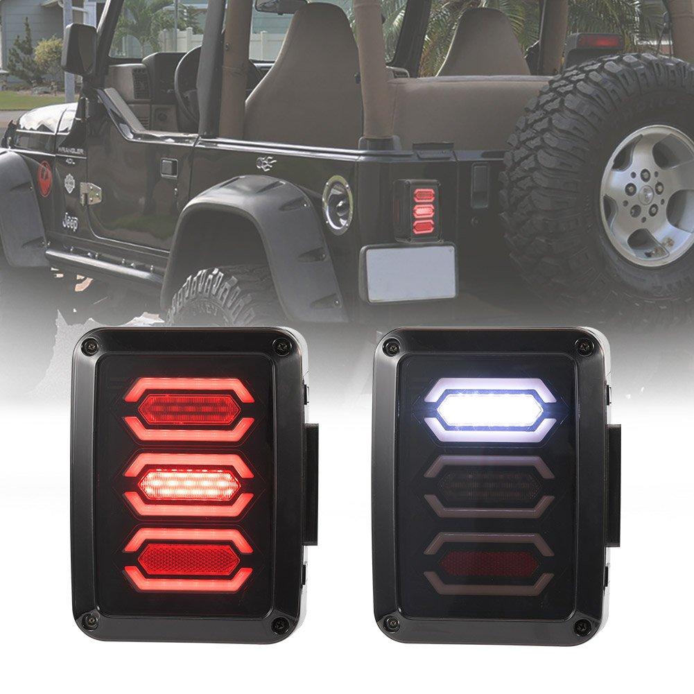 Liteway 2X New Diamond Smoked Tail Lights for 07-17 Jeep Wrangler JK Brake Reverse Turn Lamp Daytime Running Trun Signal Light, 2 Years Warranty
