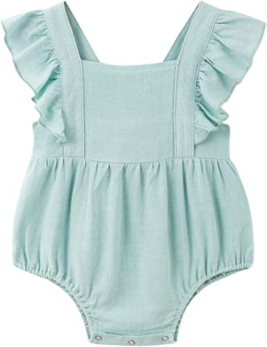 Newborn Baby Girls/' Ruffled Solid Color Sleeveless Jumpsuit Kids/' Romper Outfits