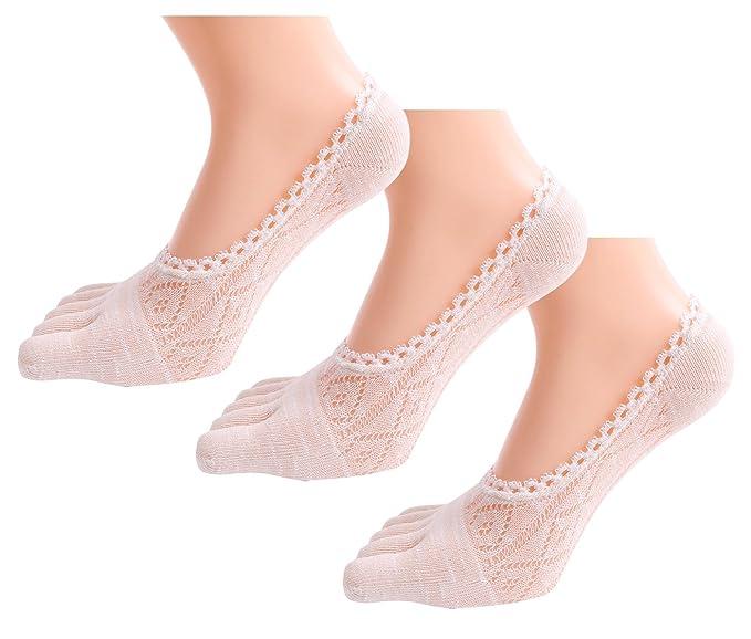 FEOYA Calcetines de Cinco Dedos de Encaje Socks Invisible para Mujeres Verano Pack de 3 Ligero