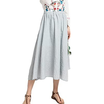 Azue Bohemian Style High Waist Cotton Pleated Long Maxi Skirt Flowy Beach Dress Light Grey