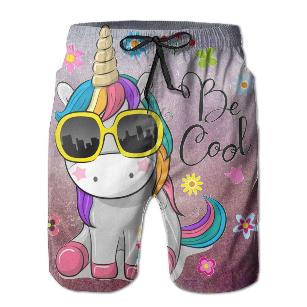 Cute Unicorn Sun Glasses Mens Adult Casual Fashion Summer Beach Shorts