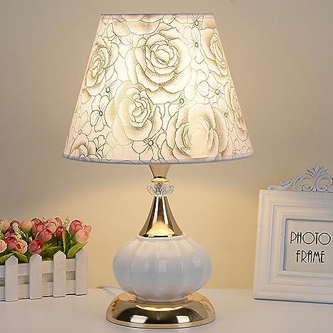 HM&DX Moderno Cerámica Lámpara de mesa dimmer,Estilo europeo Lámpara de mesita de noche Sombra de tela Decoración Iluminación de lámpara de mesita de ...