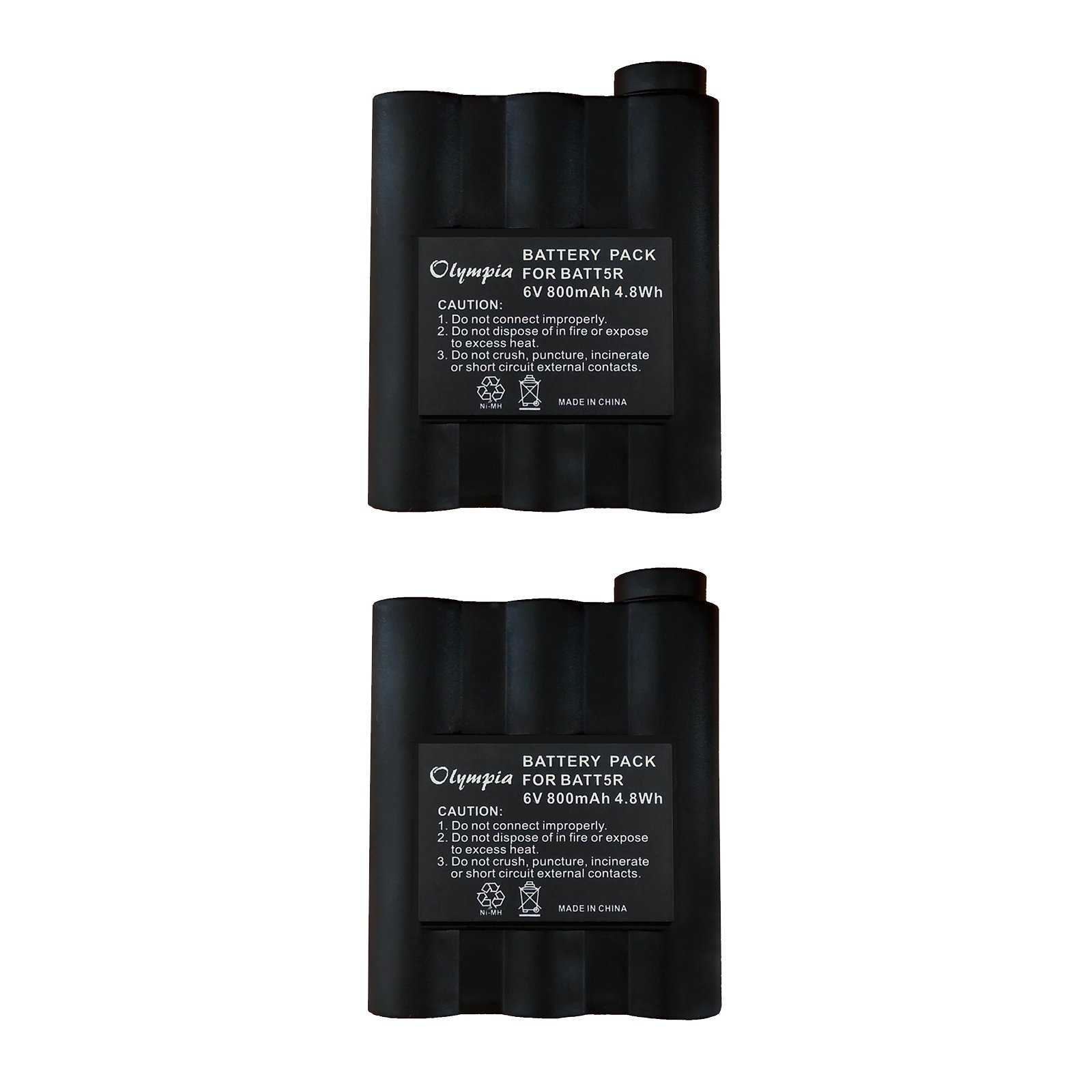 2 Pack - Midland GXT710 Battery - Replacement for Midland BATT-5R Two-Way Radio Battery -Compatible with Midland GXT710, GXT-300, GXT-325, GXT-400, GXT-444, GXT-450, GXT-500, GXT-550, GXT-555, GXT-600