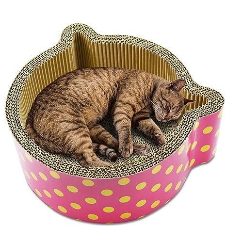 Millster - Rascador ovalado para gatos, alfombrillas de gato onduladas, salón de cartón ondulado, resistente raspador de ...