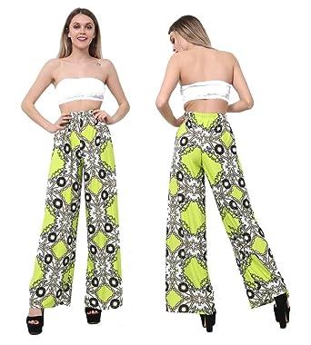 17013c4190d Vicmar s Ladies Print Palazzo Trousers Women s Summer Wide Leg Pants Plus  Sizes