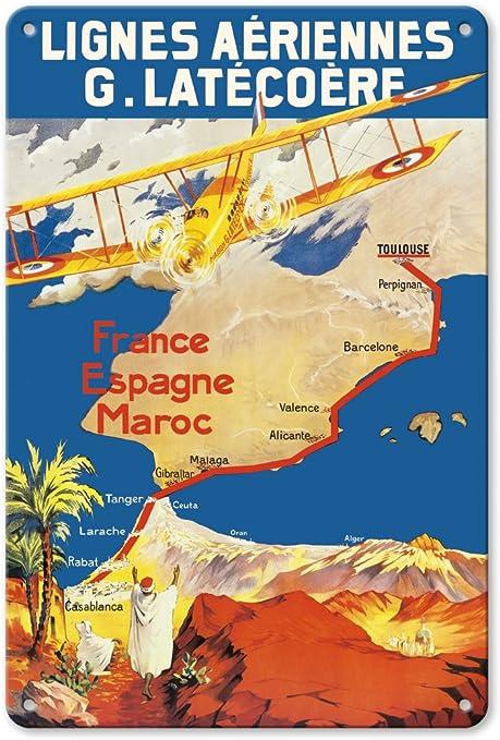 Pacifica Island Art France - España - Marruecos - Lignes Aeriennes (Aéropostale) - Póster Vintage de Viaje de Línea Aérea c.1920 - Fine Art Print: Amazon.es: Hogar