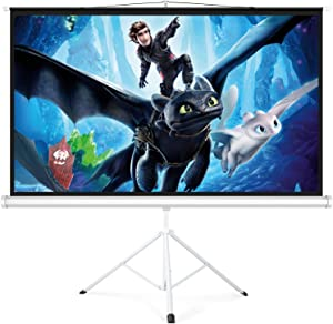 PERLESMITH Projector Screen with Stand 100 Inch 4K Ultra HD 16:9 Portable Outdoor Indoor Movie 3D Widescreen with Foldable Tripod Retractable Screen for Home Theater, Gaming, Office