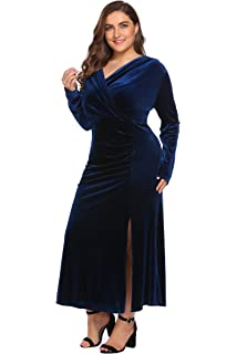 7eacbdd16c Women s Plus Size Retro 1950s V-Neck Wrap Velvet Split Hem Elegant Party  Evening Maxi