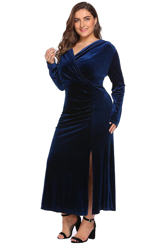 cf0bc4e572689 Women s Plus Size Retro 1950s V-Neck Wrap Velvet Split Hem Elegant Party  Evening Maxi Dress at Amazon Women s Clothing store