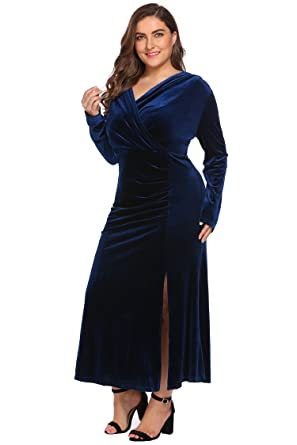 34f44a5e47920 Women s Plus Size V-Neck Wrap Split Velvet Elegant Party Evening Maxi Dress  (16