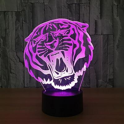 OOFAY LIGHT® Tête de tigre 3D Illusion Nuit Lumière LED Bureau Lampe de Table USB Puissance 7 Couleur tactile Lampe Art Sculpture Lumières Cadeau D'anniversaire pour Enfants Chambre Décor