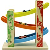 Motrent 3 Levels Wooden Ramp Race Car Track Games Toys for Toddlers Kids with 3 Wood Cars