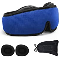 NATURE CARE 2019 Total Blackout Eye Mask for Sleeping   Breathable 3D Padded Memory Foam Modular Design Totally Adjustable & Perfectly Compact for Travel & Camping Men & Women (Blue)