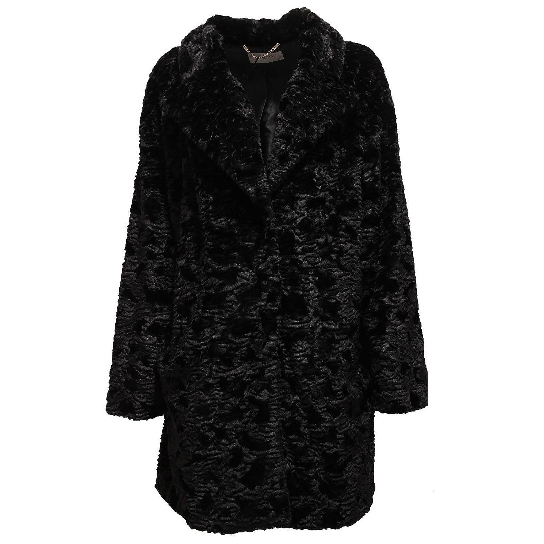 9215U giaccone eco pelliccia donna MARELLA nero coat jacket woman 8c4cbe26b8c5