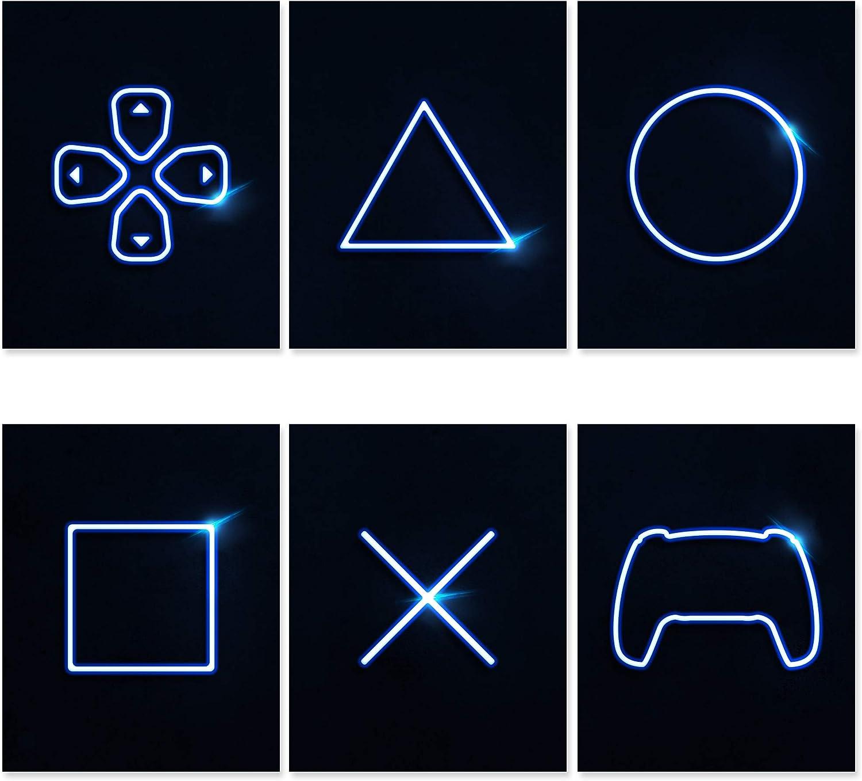 Moldura Console Playstation Jogos Arena 5 Peças De Lona Impressão Wall Art Decor