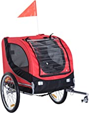 PawHut Pet Bike Trailer Bicycle Dog Cat Travel Carrier Foldable Red