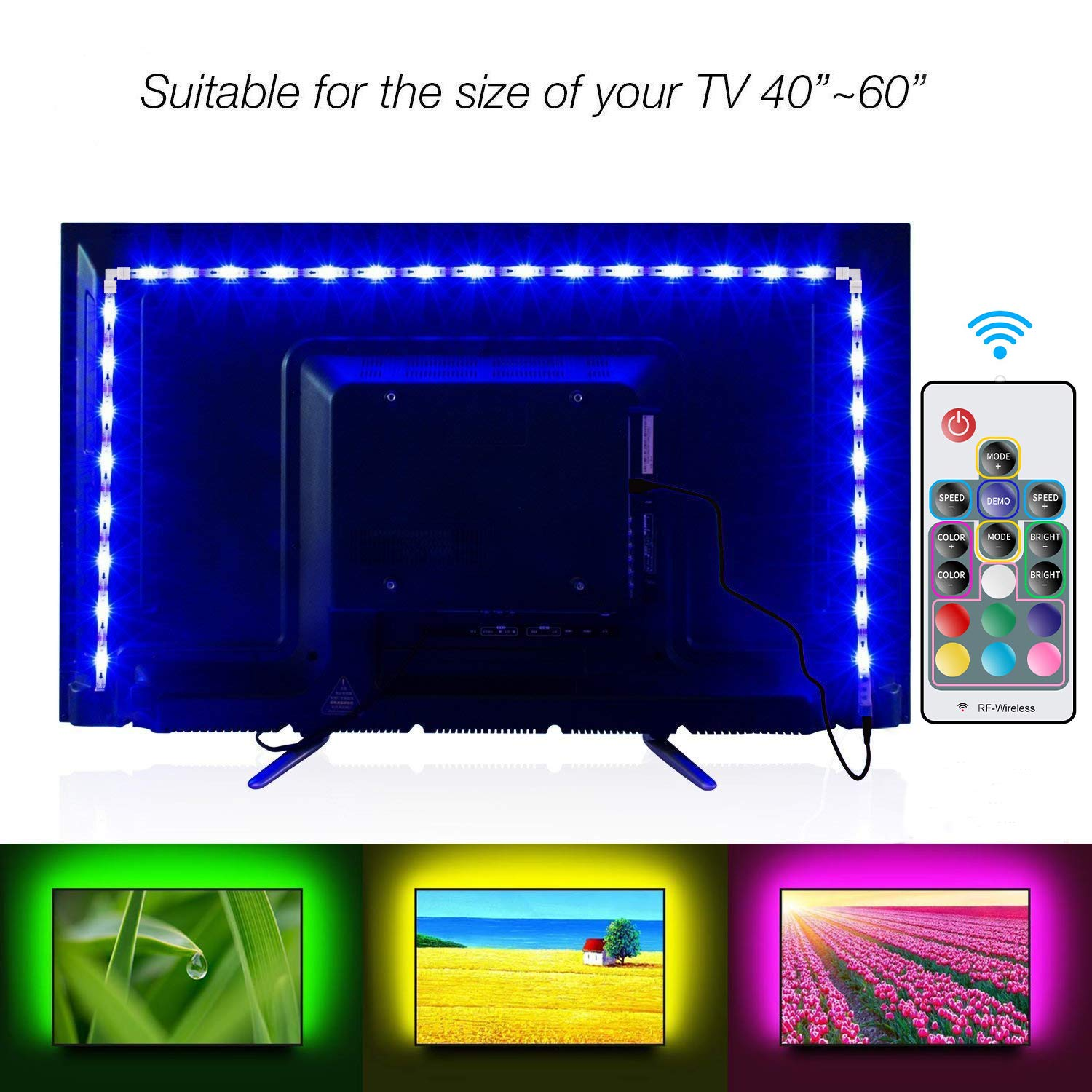 LED TV Backlight, LUCKIE RGB LED Strips 2M/6 56ft USB TV Bias Lighting for  40 to 60 in HDTV Neon Light with Remote, TV Light Strip, 16 Colors Changed