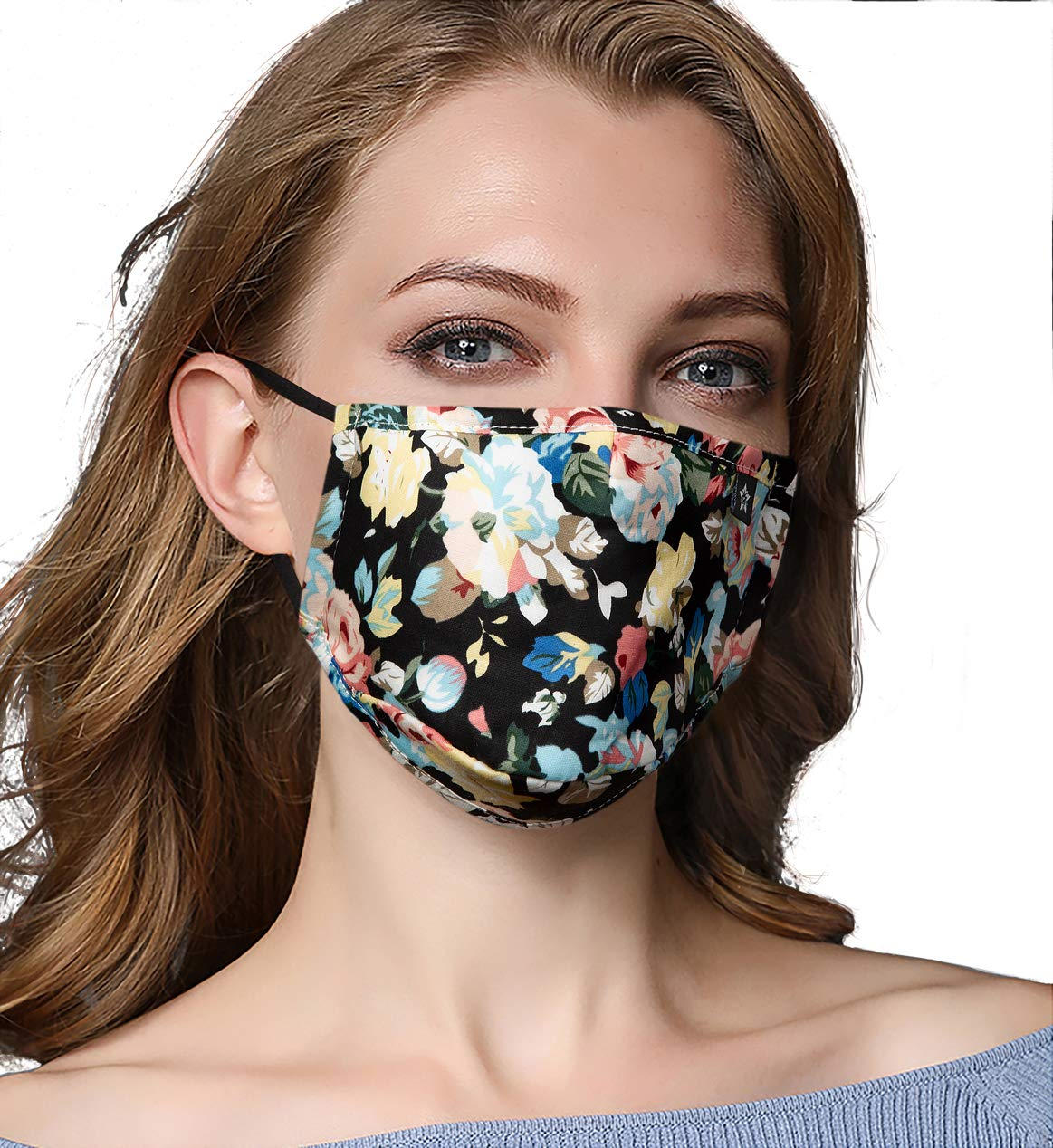 Washeable Reusable Mouth Mask Cotton Anti Dust Half Face Mouth Mask for Men Women Dustproof With Adjustable Ear Loops by YASHIGE