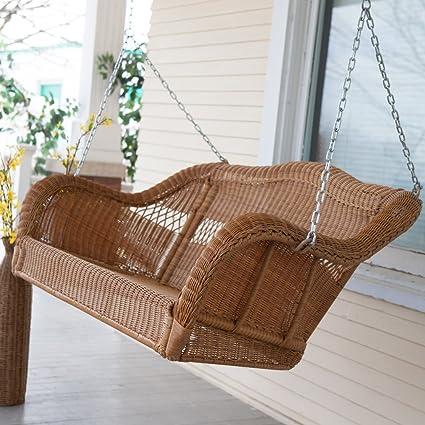 Amazon Com Coral Coast Casco Bay Resin Wicker Porch Swing Garden